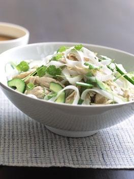 Bang bang chicken and rice stick noodle salad