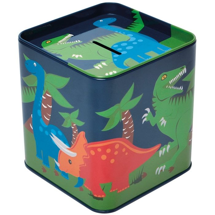 Bobble Art Dinosaur Tin Money Box