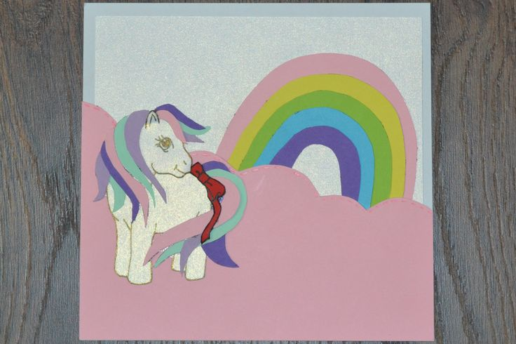 Rainbow pony birthday card