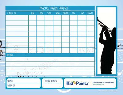 To play the trumpet well you must practice on a consistent basis. Our free music chart printables can help your children get organized and keep track of all of their music lessons every month. Make a list of all of your kids' trumpet lessons on our music practice: trumpet chart so that he can become a master trumpeter in no time.