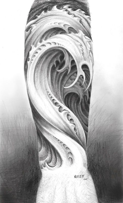 """Water tattoo design""  by ~M-Amey -   Traditional Art / Drawings / Surreal"