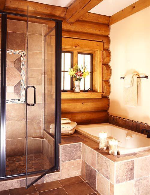 47 best log home bathrooms images on pinterest for Master bathroom rustic