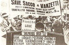 Nicola Sacco and Bartolomeo Vanzetti were Italian-born American anarchists who were convicted of murdering a guard and a paymaster during an armed robbery in Braintree, Massachusetts, 1920. As details of the trial and the men's suspected innocence became known, protests on their behalf were held in every major city in North America and Europe, as well as in Tokyo, Sydney, São Paulo, Rio de Janeiro, Buenos Aires, and Johannesburg. They were executed in 1927.