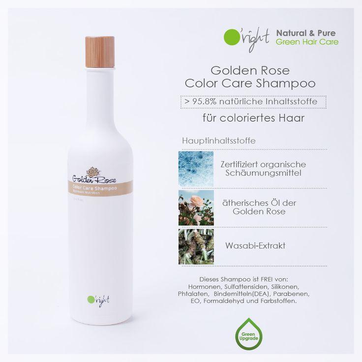 O'right Golden Rose Color Care Shampoo - dein Shampoo für gefärbtes und feines Haar mit >95,8% natürlichen Inhaltsstoffen!