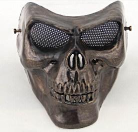 полное лицо золото/серебро маскарад airsoft тушь террора череп маска воина броня карнавал пейнтбол байкер маска маска ужаса страшный хэллоуин в категории маска
