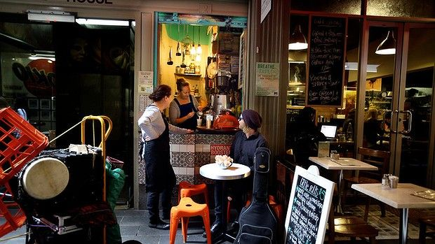 Tiny space: Local Birds cafe, the Causeway; the smallest shop in Melbourne.