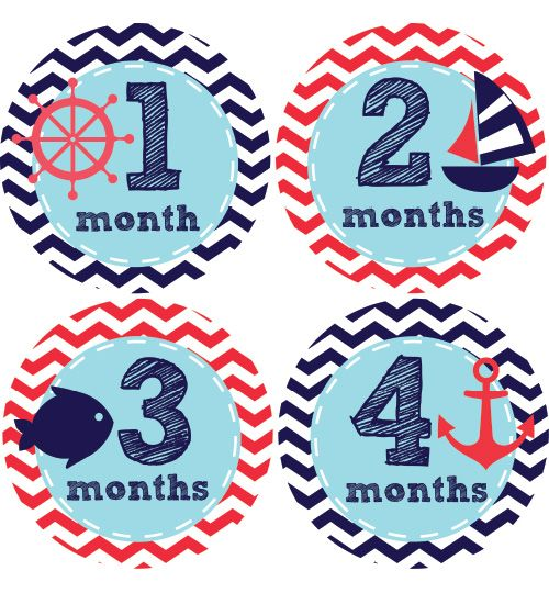 Nautical Baby Month Stickers Boys