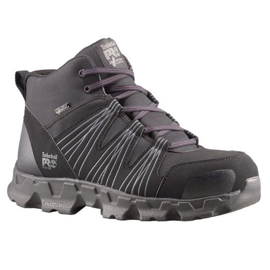 Athletic styling gives these men's Timberland PRO Powertrain work boots and  shoes modern style.