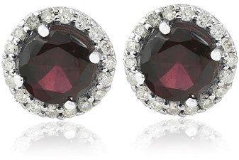 Pompeii3 2 1/10ct Diamond & Red Sapphire Gemstone Vintage Halo Earrings 14k White Gold.