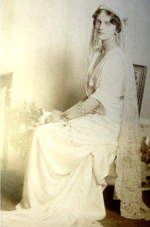 Photo of Princess Irina Alexandrovna, on the day of her marriage to Prince Felix Youssoupov. Theirs was a fascinating marriage; Felix was a bisexual, peace-loving man, who wound up helping to kill Rasputin. Irina was the niece of the ruling Romanov family. Felix was exiled for his role in Rasputin's murder, which meant that his family was one of the few who escaped the Bolshevik massacres. Felix and Irina had a happy 50-year marriage, and lived in New York City.