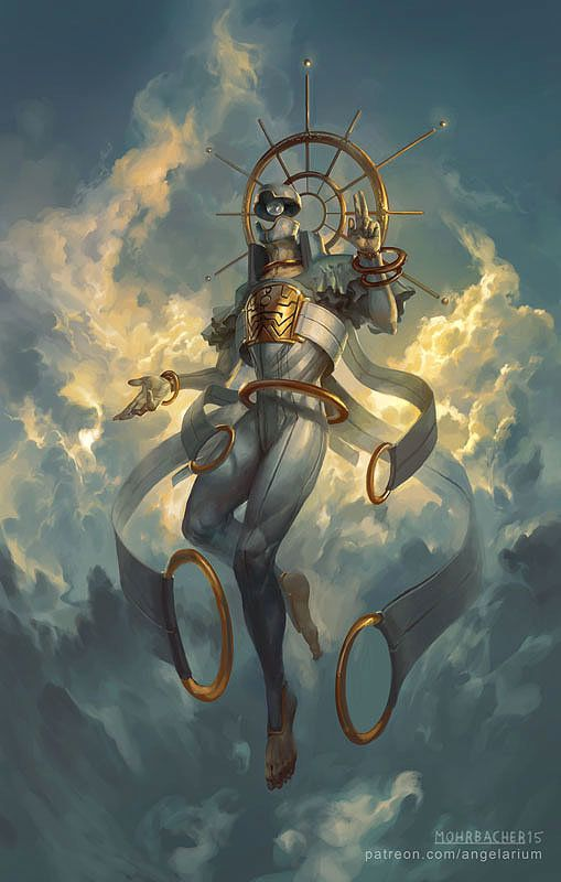 Sahaqiel, Angel of the Sky, Peter Mohrbacher on ArtStation at https://www.artstation.com/artwork/sahaqiel-angel-of-the-sky
