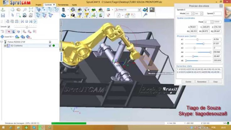 Offline programming of welding contour with Fanuc robot and SprutCAM Robot software.