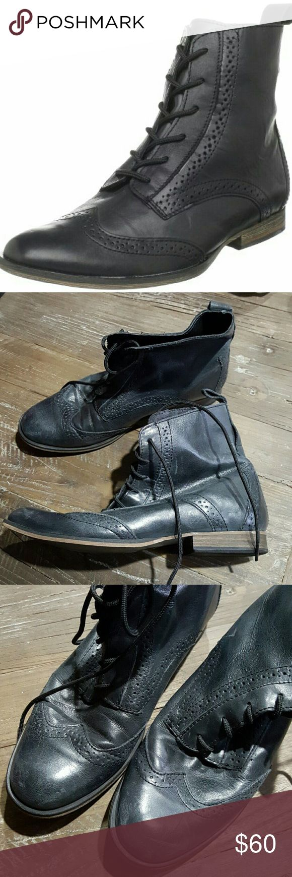 STEVEN by Steve Madden Mertie Black Brogue Boots 7 Briefly worn once indoors with light wear. Granny chic! ;-) Black leather. Steven by Steve Madden Shoes Lace Up Boots