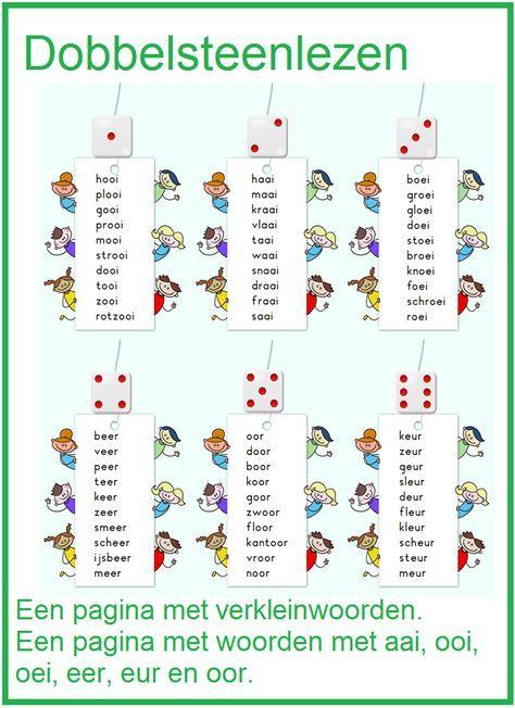 Dobbelsteen lezen met verkleinwoorden en woorden met eer, oor, eur, ooi, aai en oai.