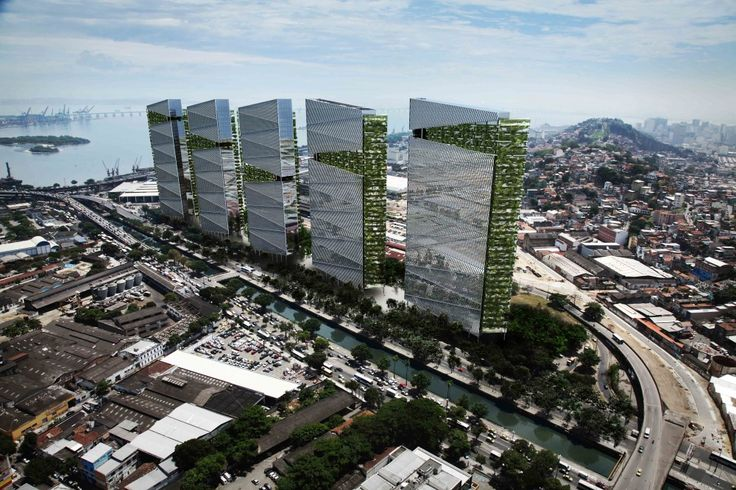 Greenery between floors and cutouts terminating in gardens at different levels on each tower. (Trump Towers Proposal, Rio de Janeiro, Aflalo & Gasperini Arquitetos)
