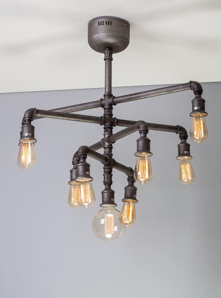 Steampunk pipe chandelier vintage industrial lights 9 edison bulbs pendant light in Casa, arredamento e bricolage, Illuminazione da interno, Lampadari da soffitto | eBay