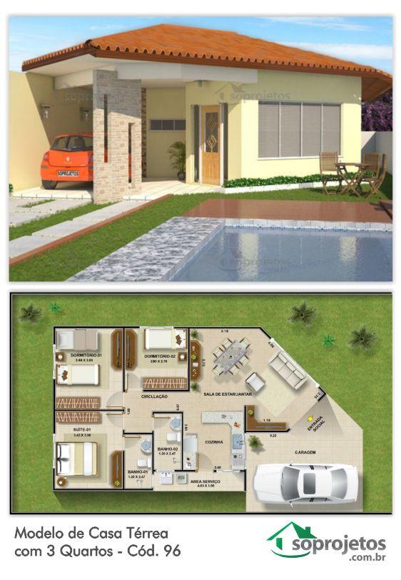 Esta casa térrea tem uma ótima planta, podendo se adaptar facilmente a qualquer terreno, com três quartos sendo uma suite. Com sala de estar jantar conjugadas, ótima cozinha, com área de serviço e varanda frontal.