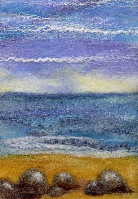 Bright Horizon All wool, wet felted and needle felted seascape. There are some strands of hand spun yarn from the Isle of Skye in there as well as some Wensleydale Locks and angelina fibres. The mount I have isn't quite big enough. I'm either going to loose some of that lovely sky at the top or some of the foreground. I think my rocks need a bit more work.