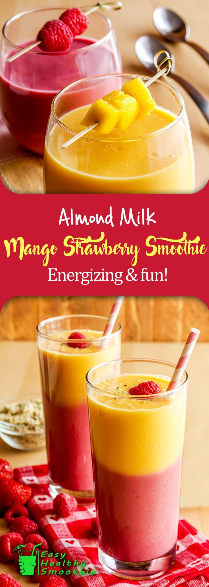 If you're looking for a great smoothie to start your day and you would like something that gives you a great energy boost, this is the smoothie for you.  The zest of the lime and ginger and the sweet of the fruit will have you ready to face the day | Mango Strawberry Almond Milk Smoothie