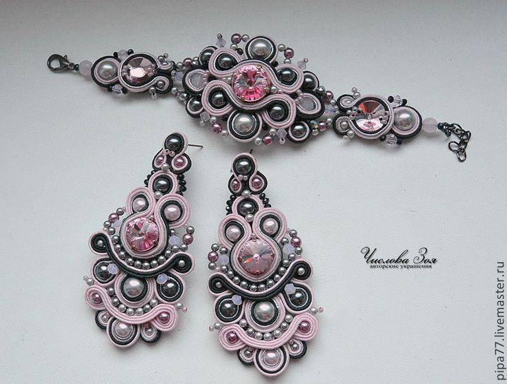 """Купить сутажный комплект """"Розовый фламинго"""" - розовый, комплект украшений, серьги длинные, браслет"""