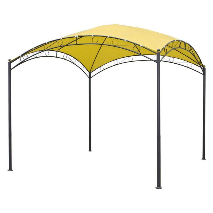 International Caravan St. Kitts 10 ft. Iron Dome Top Outdoor Gazebo Bronze / Lemon yellow - YF-3558-LY