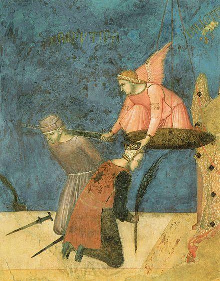 """Ambrogio Lorenzetti - La """"Giustizia retributiva"""": L'angelo con una mano decapita di spada e e con l'altra incorona (Allegoria del Buon Governo) - affresco - 1338-1339 - Siena - Palazzo Pubblico, Sala dei Nove o Sala della Pace"""