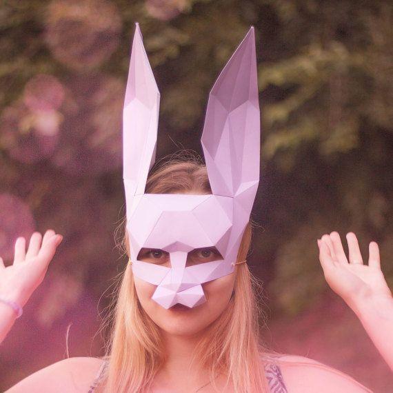Rabbit Mask. Rabbit. half mask. pink mask low poly от LamaLuna