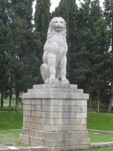The lion monument to the Sacred Band of Thebes, an army of 150 pairs of male lovers, at Chaeronea, built in 300 BC. All died in the Battle of Chaeronea at the hands of Philip II of Macedonia, and in the last century, 256 bodies were excavated at the site.