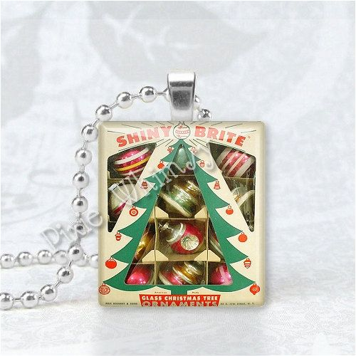 SHINY BRITE ORNAMENTS Vintage Christmas Scrabble Tile Art Pendant Charm. $6.95, via Etsy.