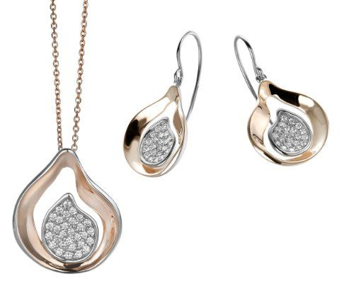 Orphelia Women's Jewellery SET Including Necklace and Earrings 925 Sterling Silver with White Zirconia - 5194 SET