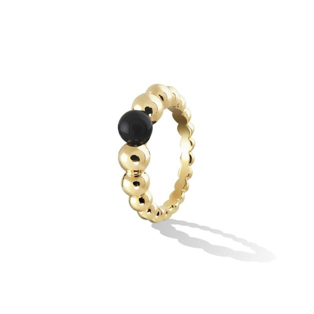 Cheerful and delicate, this Perlée Variation ring in yellow gold and onyx will dress up your hand elegantly.  I am in love with this!
