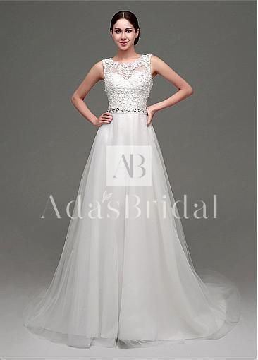 In Stock Elegant Tulle Jewel Neckline A-Line Wedding Dresses With Lace Appliques