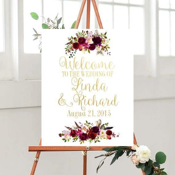 Floral Wedding Welcome Sign, Welcome To The Wedding, Wedding Decor, Printable Wedding Sign,  digital Download