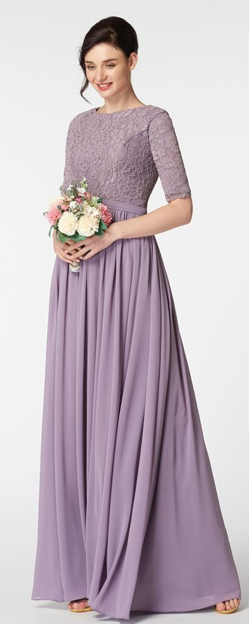 Modest Wisteria Purple Bridesmaid Dress With Sleeves Lace Gowns Long Wedding Guest