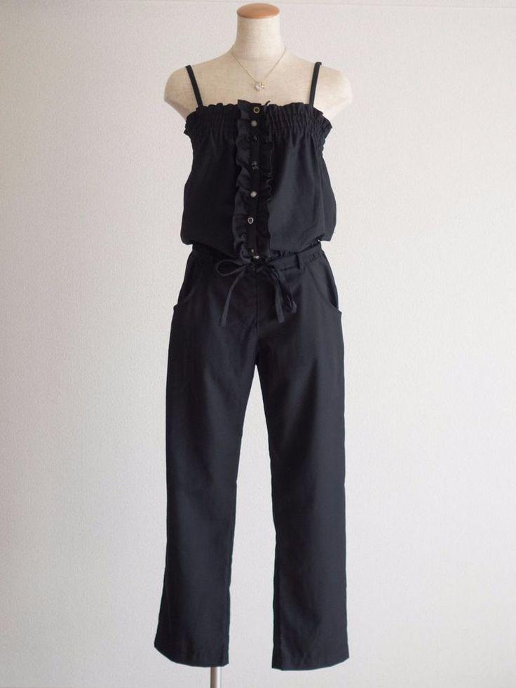 PAGEBOYBlack Jumpsuit Overall Disunion Buttons Japan Size M Hime Gal Lolita #PAGEBOY #Jumpsuit #Shibuya109Lolita