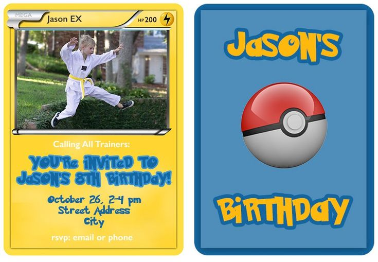 Create Pokemon Trading Card birthday invitations for your child's birthday. These templates (front and back) are fully editable in Photoshop so you can incorporate your own text and images.