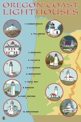 Oregon Coast Lighthouses - Lantern Press Poster