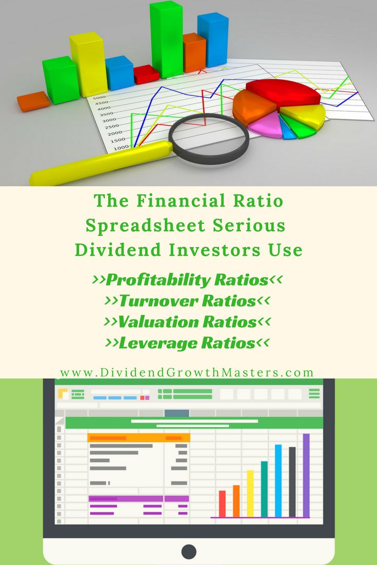 The FREE Ultimate Financial Ratios Spreadsheet For Dividend investors. This excel spreadsheet template includes over 25+ financial ratios! All you need to do is input some information and the spreadsheet will do the rest! Includes profitability (gross margin, operating margin, etc), leverage (debt/equity, EBITDA), turnover, and valuation ratios (P/E, dividend yield, etc)! Reach passive income retirement faster with this spreadsheet!