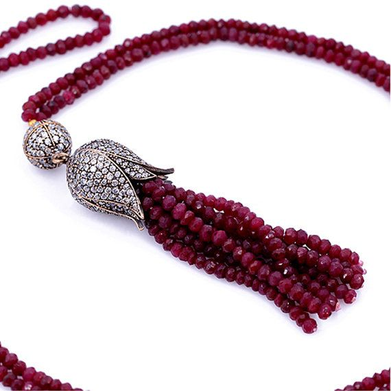 Tulip Necklace with Ruby Stones SNC177 by LuckyEyeDesigns on Etsy, $135.00