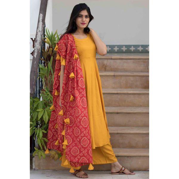 Tan Bandhani Suit Set