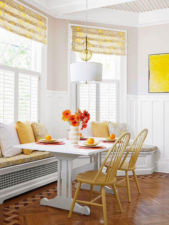 17 best images about banquettes on pinterest window for Bay window treatments for kitchen ideas