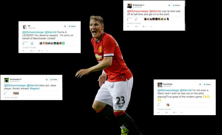 Bastian Schweinsteiger sat in the stands for the Manchester derby as fans on twitter apologized and asked for his return to the team.