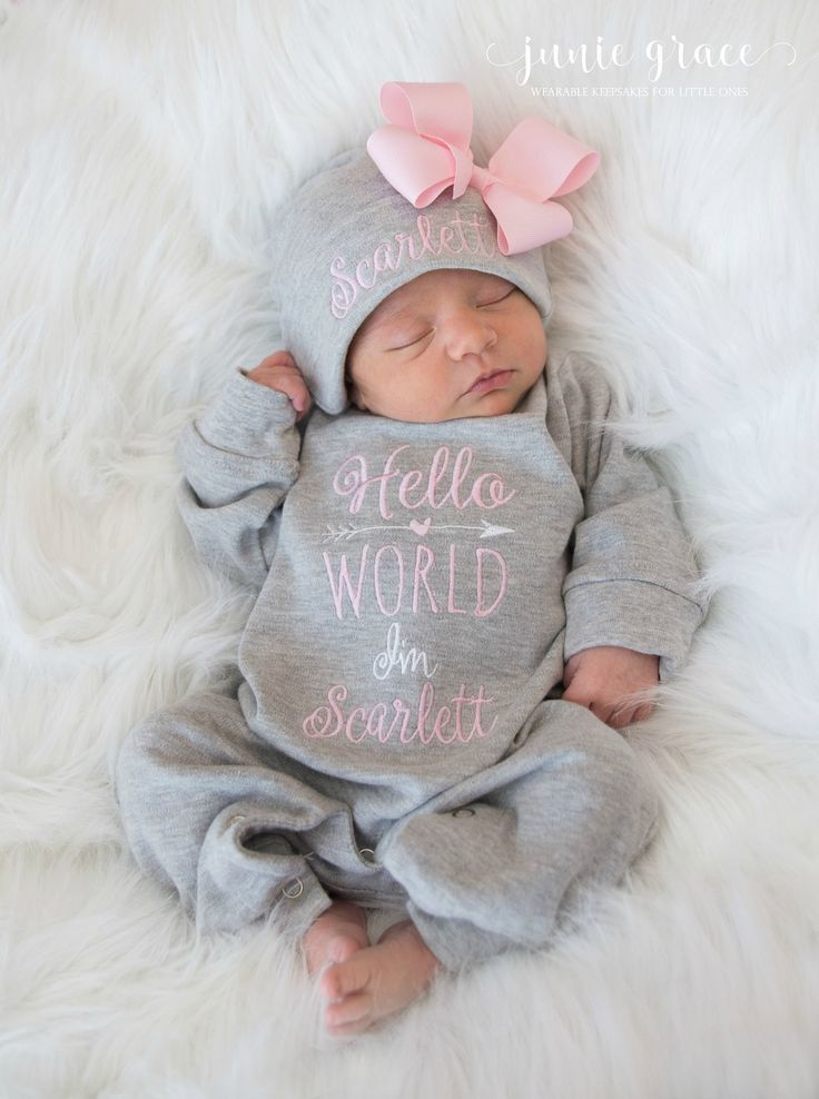 Personalised Letter /& Name Baby Romper and Hat Hospital Outfit New Baby Gifts