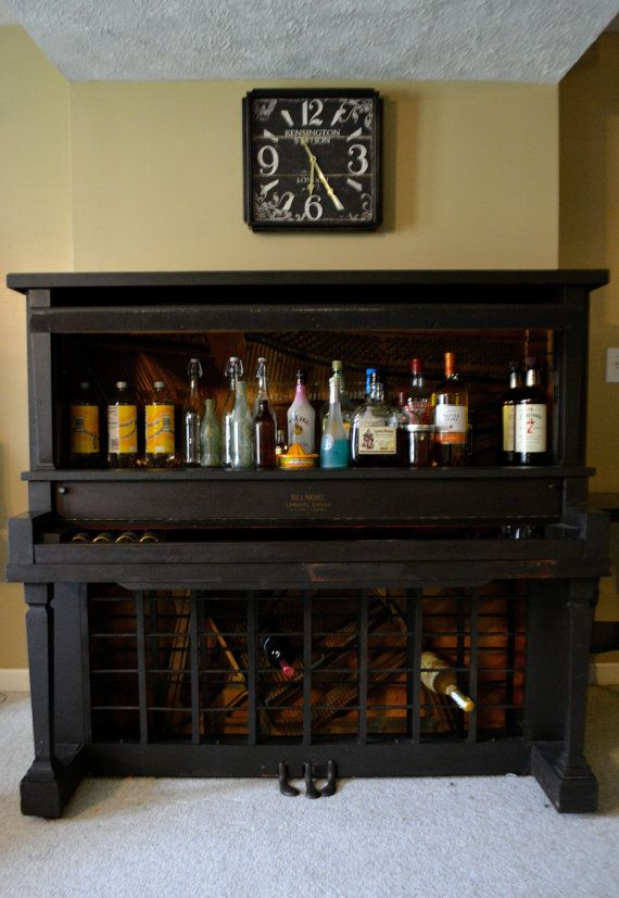 Salvaged ghost piano turned wine or liquor by OldsoulAntiqueFinds