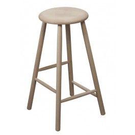 H60 cm  Massiv bøg med runde ben og forskudte sprosser.   Ved benene er pladsbehovet ca. 37x37 cm og sædet er 31,5 i diameter.