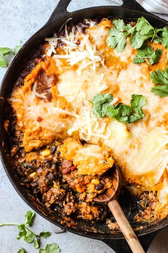Healthy Black Bean And Sweet Potato Shepherd S Pie With Turkey Black Beans And Sweet Potato Healthydin Sweet Potato Dinner Recipes Sweet Potato Shepards Pie