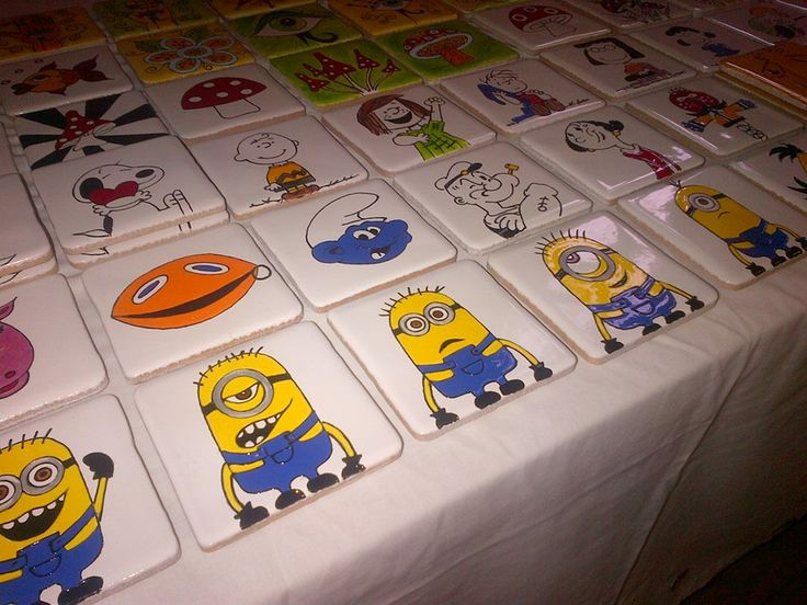 Cartoon coasters! Minions, smurfs, zippy, popeye..