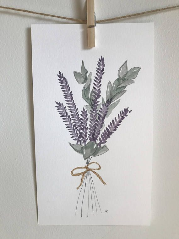 Illustration aquarelle  bouquet de Lavande  Fait à la main