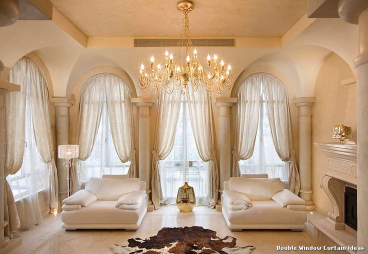 Double Window Curtain Ideas with Mediterranean Living Room ...
