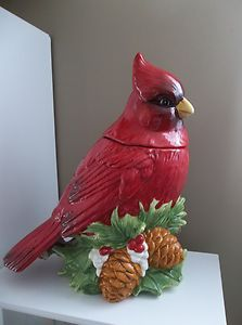 Parrot Cookie Jar | Cookie Jar Red Cardinal Bird 2 PC Cracker Barrel Ceramic Large | eBay